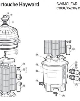 Tête de filtre pour C4030 pour filtre à cartouche SWIMCLEAR C3030 C4030 C5030 - Num 6c