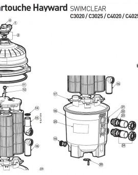 Tête de filtre pour C3025 pour filtre à cartouche SWIMCLEAR C3020 C3025 C4020 C4025 C5020 C5025 - Num6b