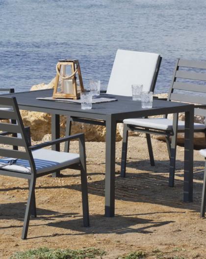Achat Vente Salon De Jardin Table 6 Chaises Turilla Anthracite Avec Coussins Complet Gris Clair