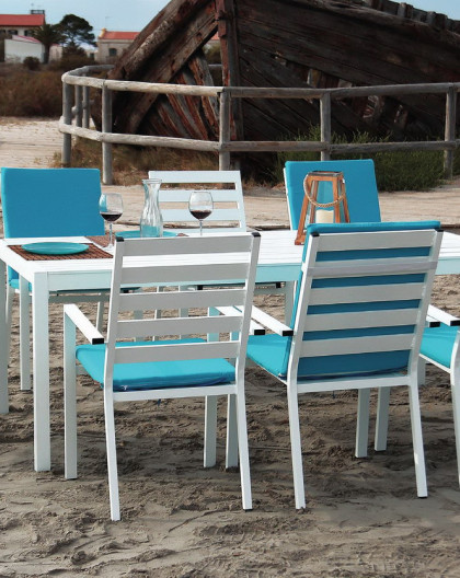 Set Table TURILLA 200 + 8 fauteuils TURILLA 3 Blanc avec coussins complet Turquoise