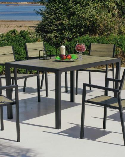 achat vente Salon de jardin EXOTIK table 150 + 6 fauteuils | HEVEA mobilier  de jardin
