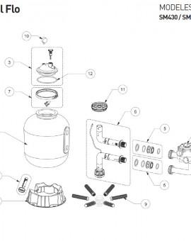 Ensemble adaptateurs et joints pour filtre CRISTAL FLO - Num5