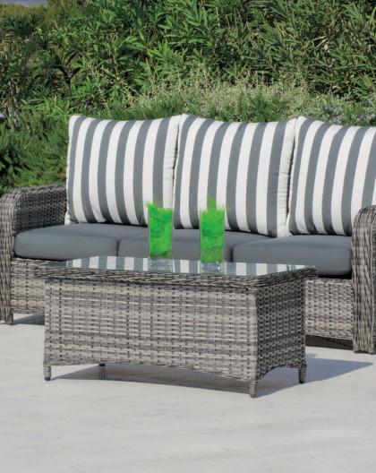 achat vente Salon de jardin BATIK2 Canapé 3pl + Fauteuils + table basse |  HEVEA mobilier de jardin