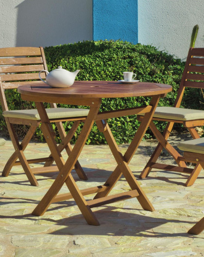 achat vente Salon de jardin Bois de SAL Table Ø90cm + 4 chaises | HEVEA  mobilier de jardin