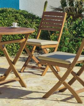 achat vente Salon de jardin LUX Bois de SAL Table Ø90cm + 4 ...