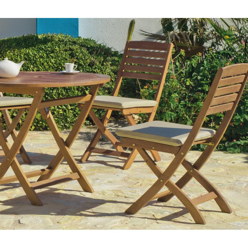 achat vente Salon de jardin Bois de SAL Table Ø90cm + 4 chaises ...