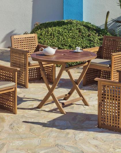 achat vente Salon de jardin LUX Bois de SAL Table Ø90cm + 4 fauteuils |  HEVEA mobilier de jardin