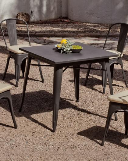 achat vente Salon de jardin industriel CUBANA table carrée + 4 chaises |  HEVEA mobilier de jardin