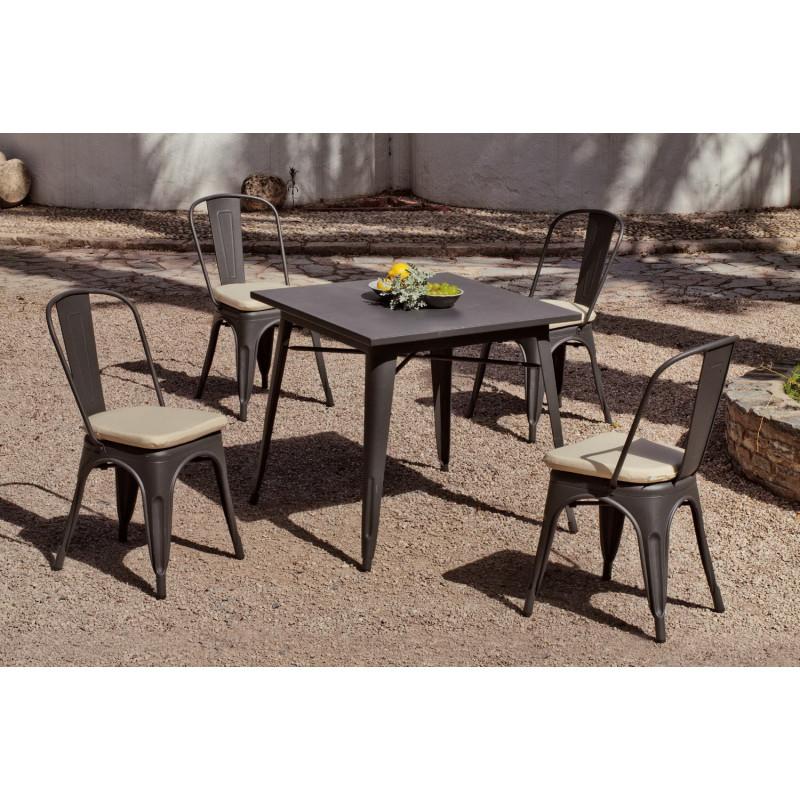 achat vente Salon de jardin industriel CUBANA table carrée + 4 ...