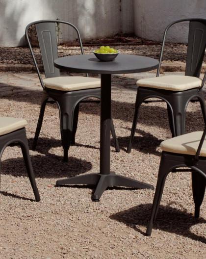 achat vente Salon de jardin industriel CUBANA table ronde + 4 chaises |  HEVEA mobilier de jardin
