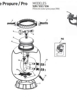 Collier de serrage (6 filets) pour couvercle 8316A pour filtre S28 S32 S36 jusque 2006 - Num1