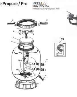 Collier de serrage pour couvercle 8316NC pour filtre S28 S32 S36 jusque 2006 - Num1