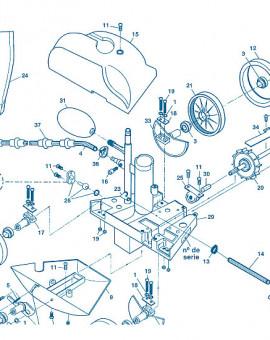 Polaris 180 - Num 6 - Vis attache ressort - essieu roue dentelée