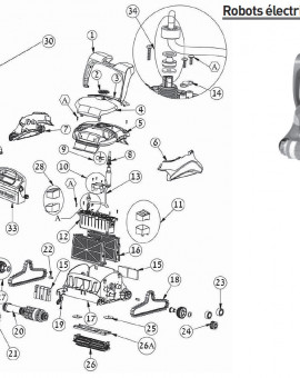 Câble + swivel 18 m dyn+ pour robot ZENIT 30 - Num13