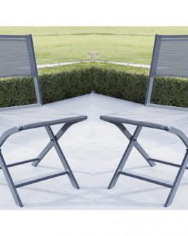 Chaise de jardin Pliante MODULO Grise Lot de 2 H88 x P55 x L48cm