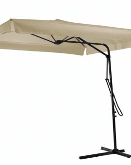 Parasol Modulo Noir toile Ecru carré de 2.20m H2.45cm