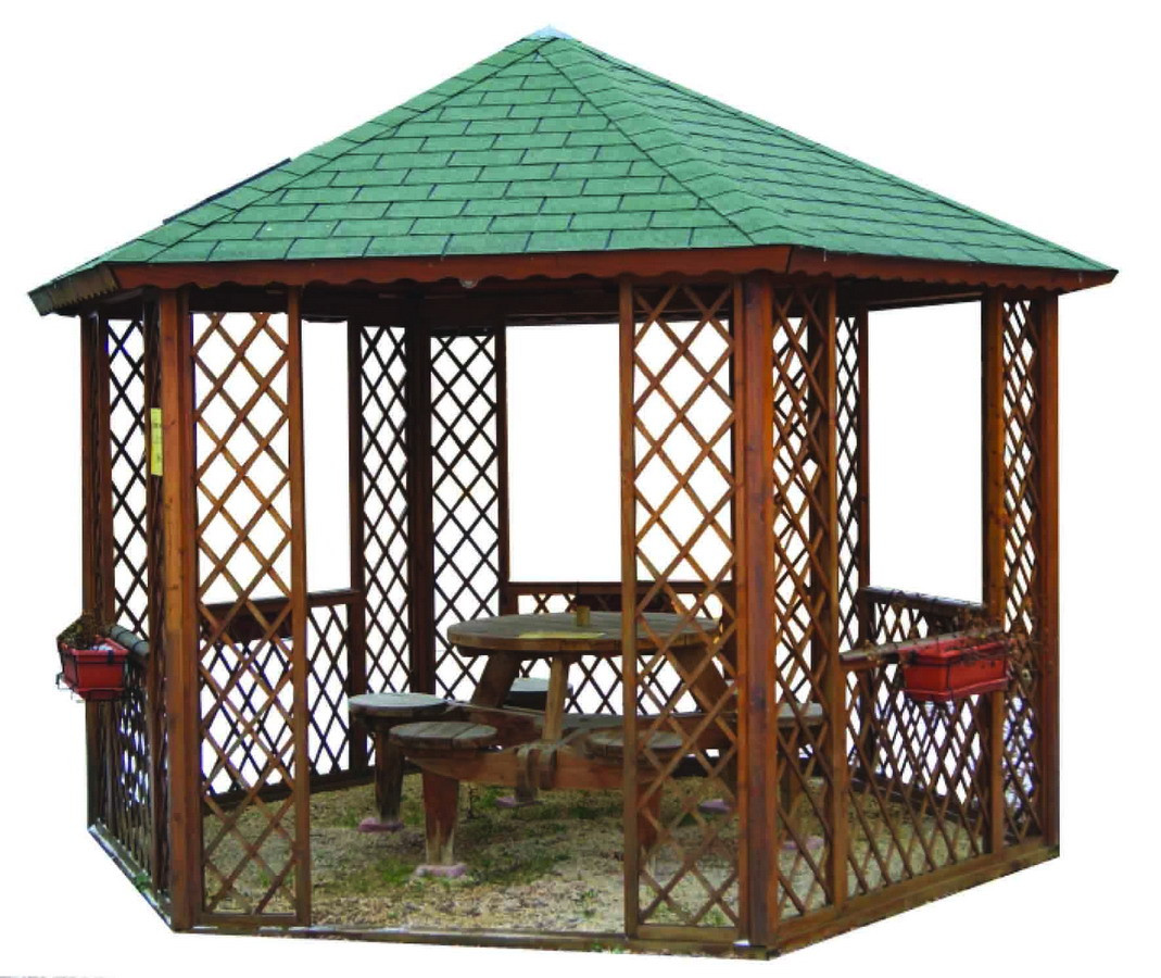 Kiosque En Bois Hexagonal gloriette kiosque strauss de 9.6 m2 option montage a