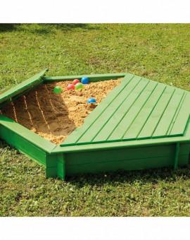 Bac à sable hexagonal avec couvercle