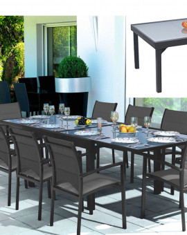 Table Modulo grise 135-270cm 6 à 10 places