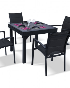 Table Modulo noire 90-180cm 4 à 8 places