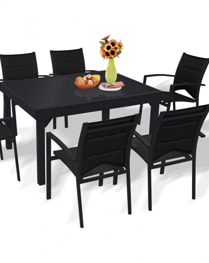 Table Modulo noire 135-270cm 6 à 10 places | table de jardin en alu