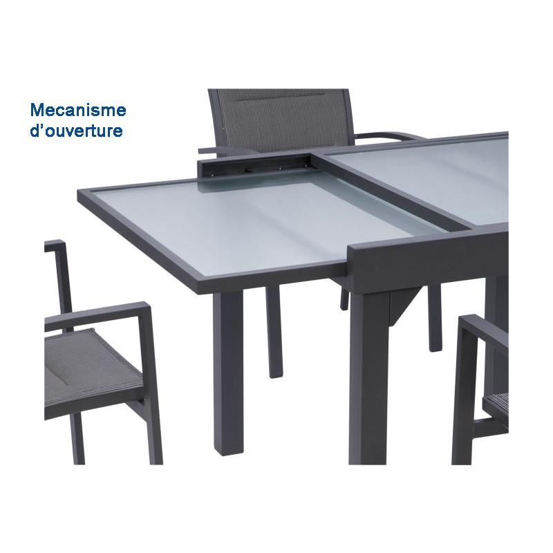 Table Modulo noire 135-270cm 6 à 10 places | table de jardin ...
