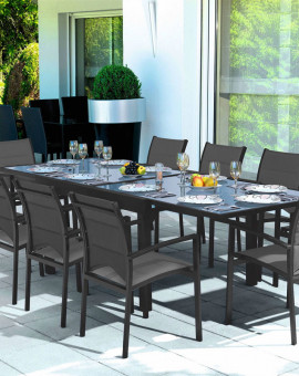 Ensemble Modulo 10 Table + 10 fauteuils Gris