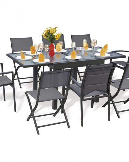 Ensemble Modulo 8 Table + 4 fauteuils + 4 chaises Gris