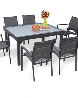 Ensemble Modulo 6 Table + 6 fauteuils Gris