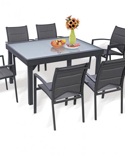 Ensemble Modulo 6 Table + 6 fauteuils Gris
