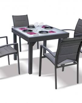 Ensemble Modulo 4 Table + 4 fauteuils Gris