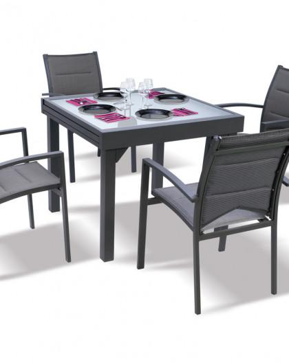 Ensemble Modulo 4 Table + 4 fauteuils Gris