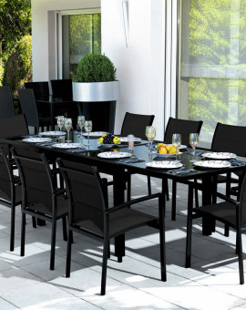 Ensemble Modulo 10 Table + 10 fauteuils Noir