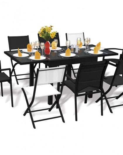 Ensemble Modulo 8 Table + 4 fauteuils Noir + 4 chaises Noir
