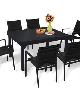 Ensemble Modulo 6 Table + 6 fauteuils Noir