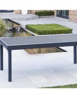 Table de jardin Modulo Noire 8-12 pers. 72x100x200/extensible 320cm