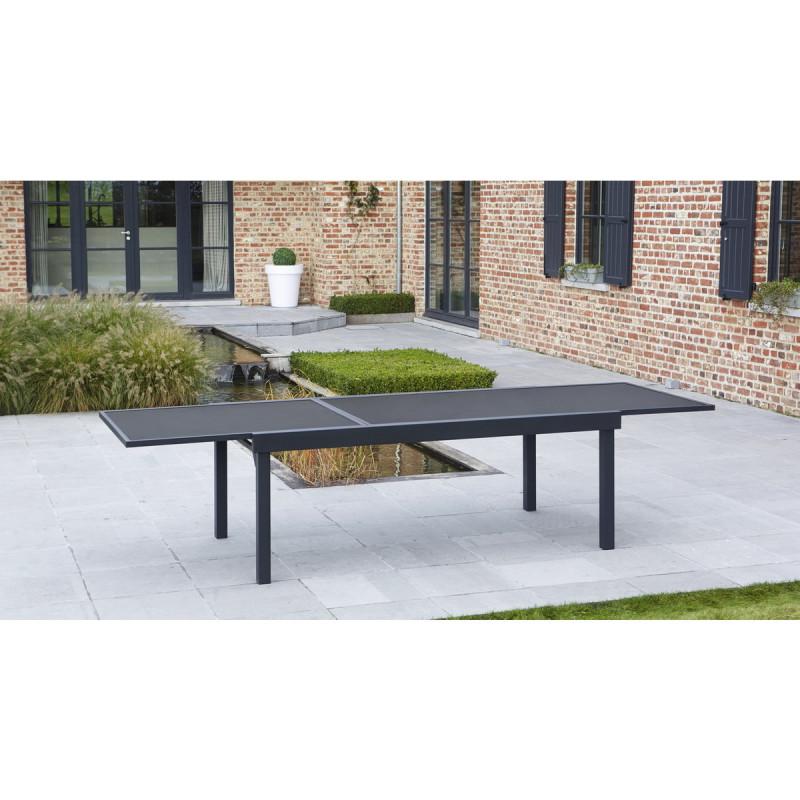 Table de jardin Modulo Noire 8-12 pers. 72x100x200/extensible 320cm ...