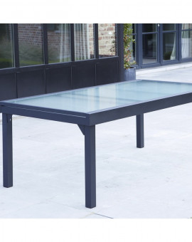 Table de jardin Modulo Grise 8-12 pers. 72x100x200/extensible 320cm