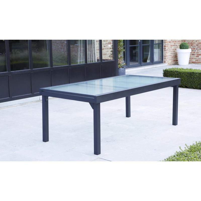 table de jardin modulo grise 8 12 pers 72x100x200 extensible 320cm wilsa. Black Bedroom Furniture Sets. Home Design Ideas