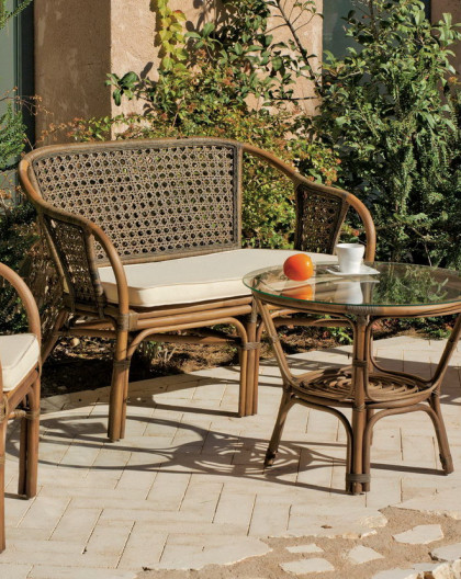 Salon de Jardin AUSTIN 4 places | Bois Rotin | HEVEA mobilier de jardin