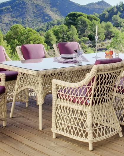 Salon de Jardin Table 220x110cm IVOIRE + 6 places