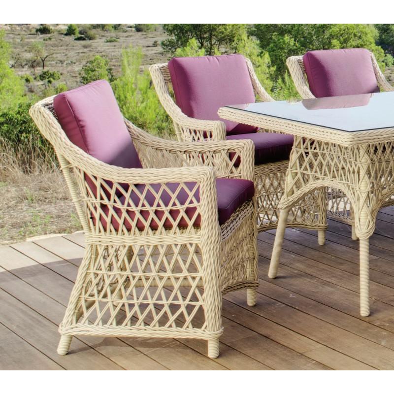 salon de jardin table 220x110cm ivoire 6 places r sine. Black Bedroom Furniture Sets. Home Design Ideas