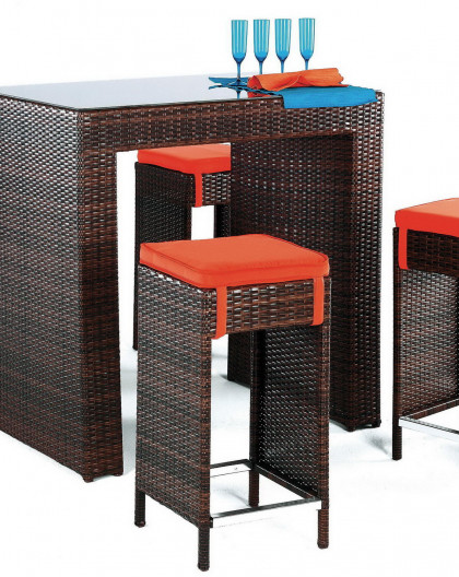 achat vente Table bar de jardin avec 4 tabourets | HEVEA mobilier de jardin
