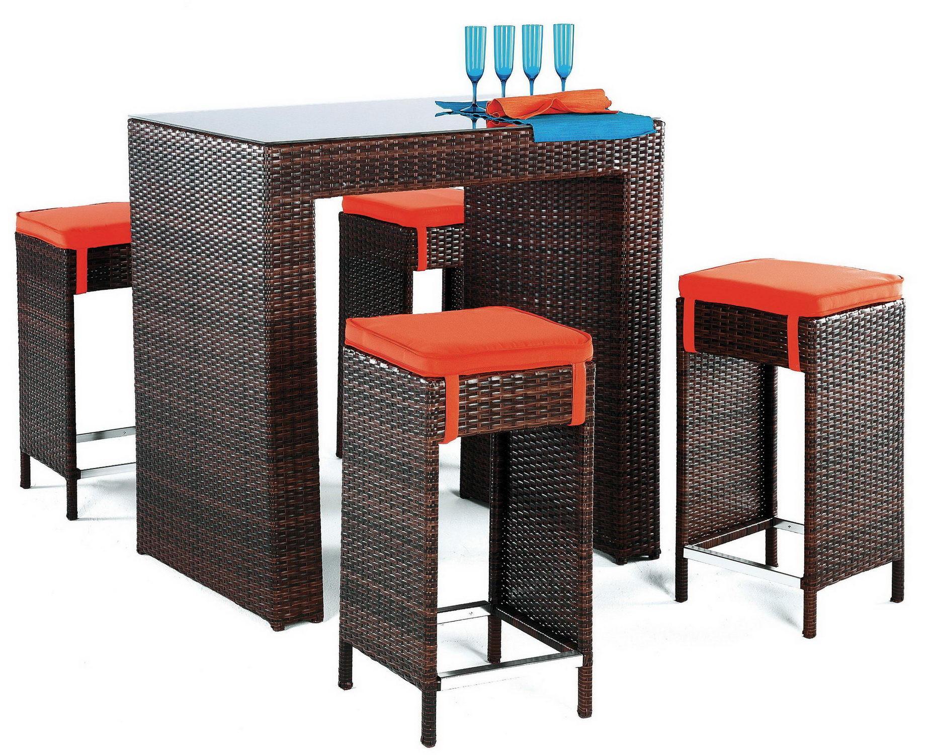 achat vente Table bar de jardin avec 4 tabourets | HEVEA ...