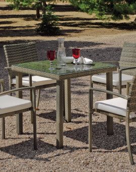 Salon de Jardin ABASARI 4 places avec table 80x80