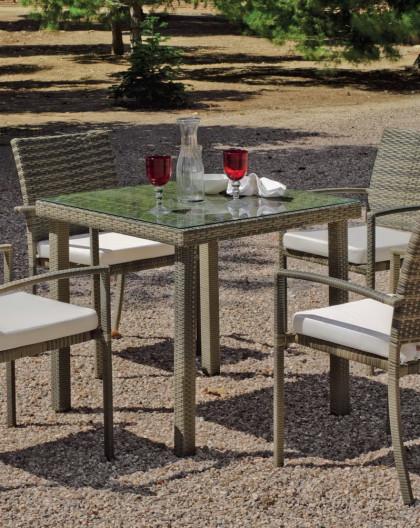 Salon de Jardin ABASARI 4 places avec table 80x80