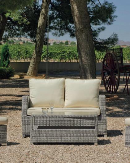 achat vente Salon de jardin GRIS Canapé 2pl + 2 Fauteuils + table ...