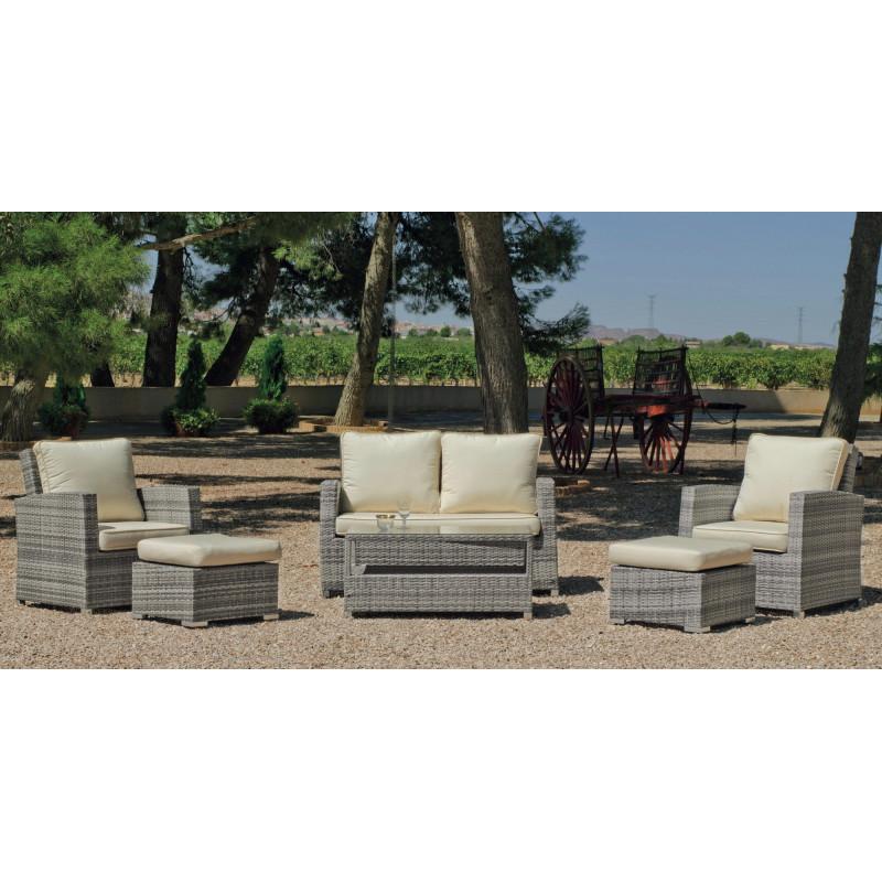 salon de jardin gris canap 2pl 2 fauteuils table basse - Achat Salon De Jardin