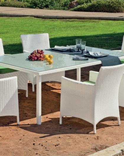 achat vente Salon de jardin BLANC Table 180cm + 6 fauteuils | HEVEA  mobilier de jardin
