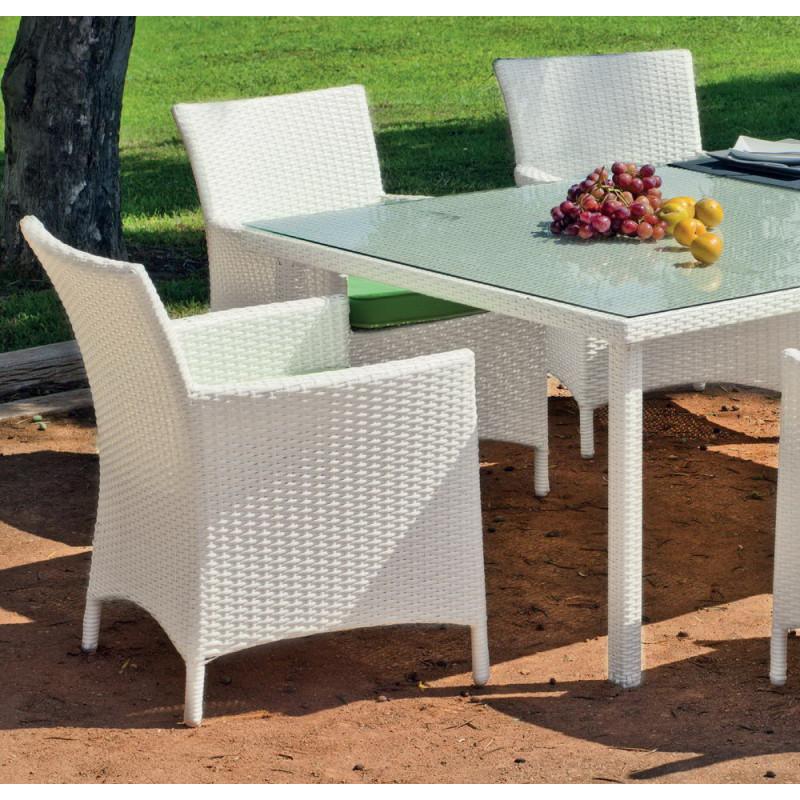 achat vente Salon de jardin BLANC Table 180cm + 6 fauteuils ...